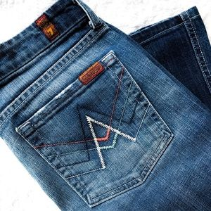 7FAM Multi-Color 'A' Pocket Flare Jeans